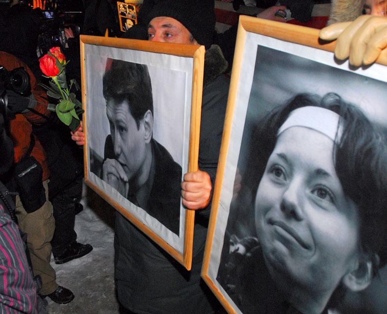 Шествие памяти адвоката Станислава Маркелова и журналистки Анастасии Бабуровой закончилось потасовками с милицией, Москва, 19 января 2010 года