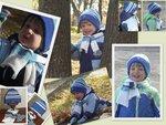 Комплект Шапка двухсторонняя, шарф и варежки
