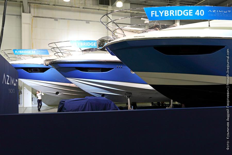 Стандартных размеров тетка рядом с «Flybridge 54» для сравнения размеров последней