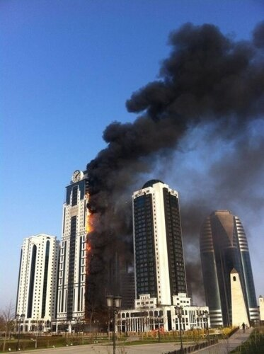 a fire in Grozny City