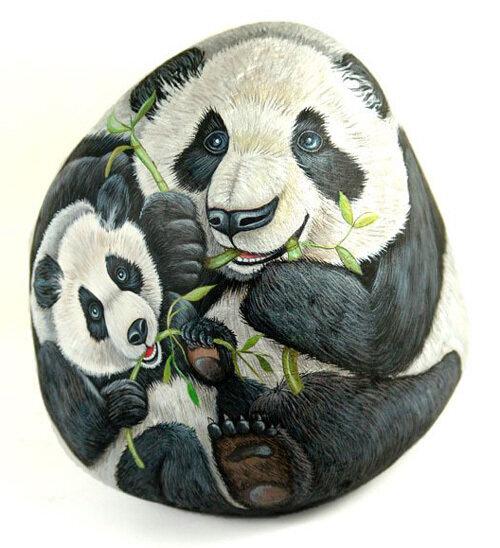 изображение панд на камне