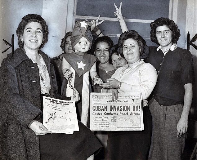 Anti-Castro organization workers celebrate the first announcement of the news of the Bay of Pigs invasion in Cuba