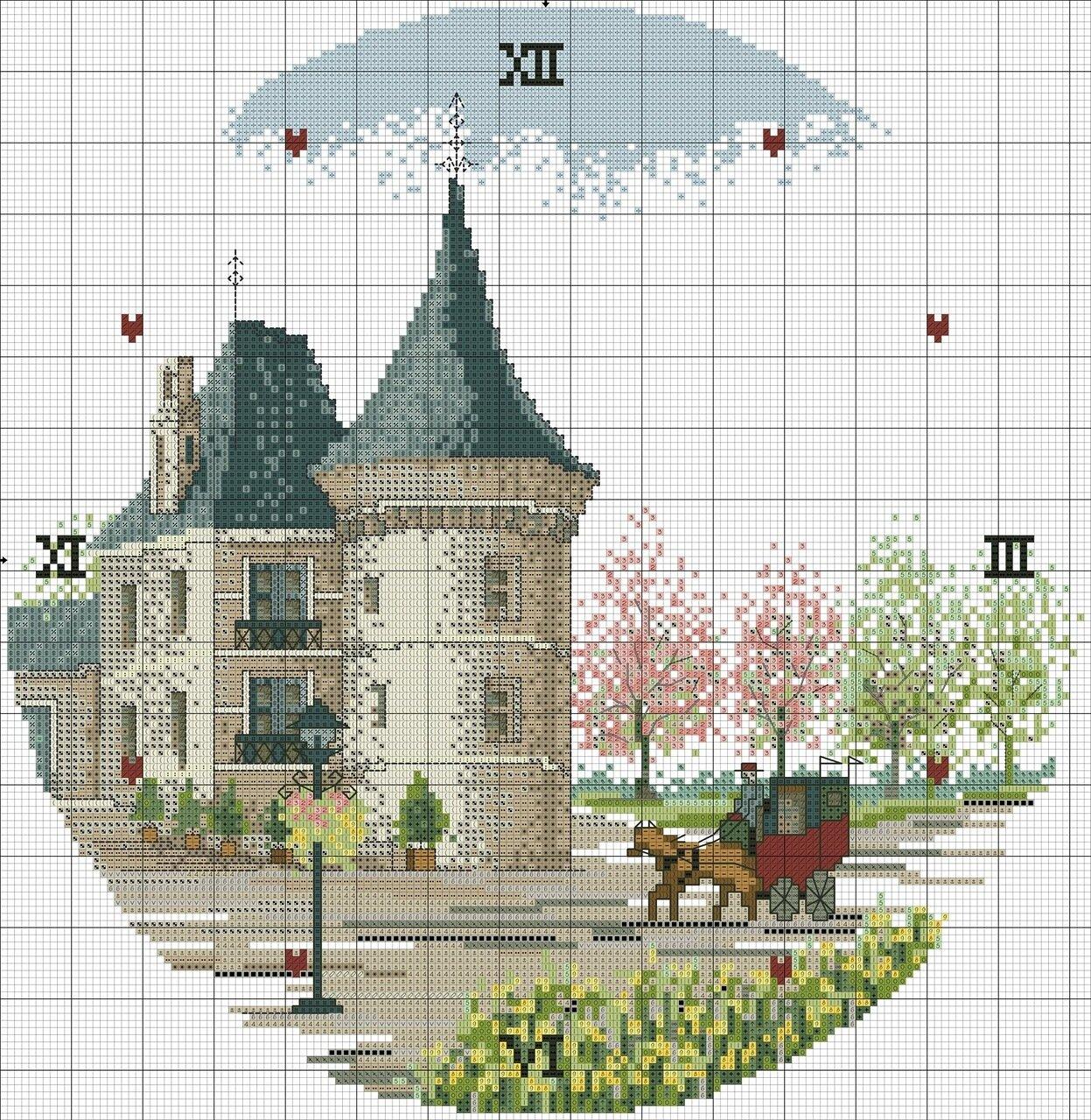 схема вышивка домик с розами