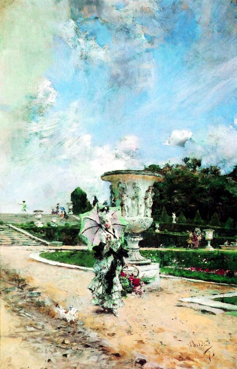 Giovanni Boldini (1842-1931) - Дама с корзиной цветов и собачкой в Версале