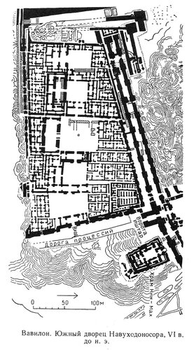 Южный дворец Навуходоносора, ворота Иштар, Вавилон, генплан