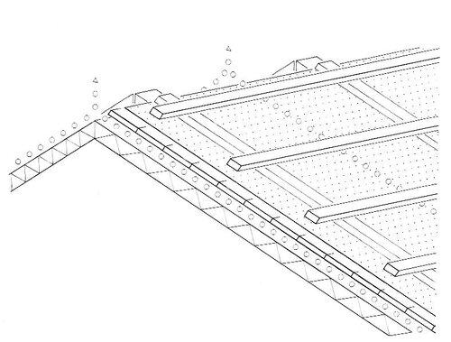 Верхний / нижний воздушный канал на коньке; конструкция со сплошным настилом и гидроизоляцией