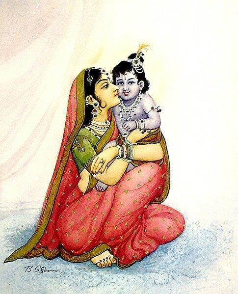 Картина индийского худ. ШАРМА - ЯШОДА-КРИШНА
