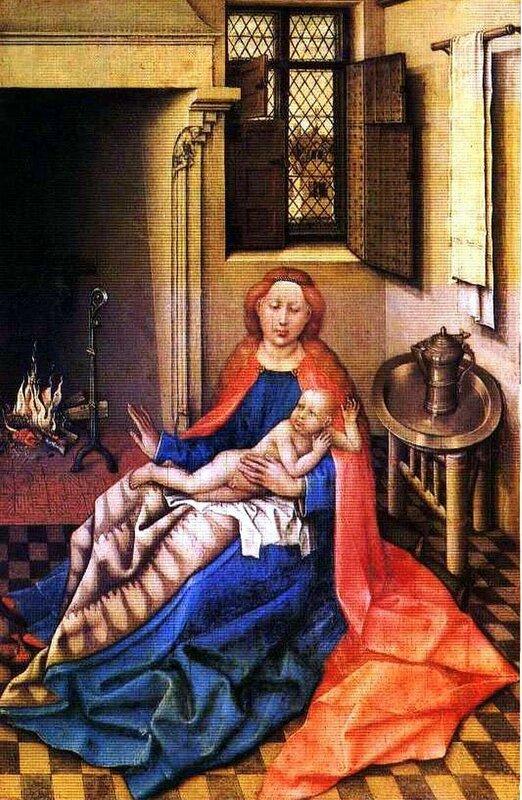 Картины старых мастеров, Робер Кампен, Мадонна с младенцем у камина