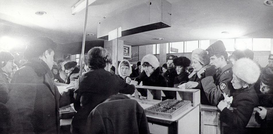 Встреча миллионного пассажира. Иркутский аэропорт, 1970 год.