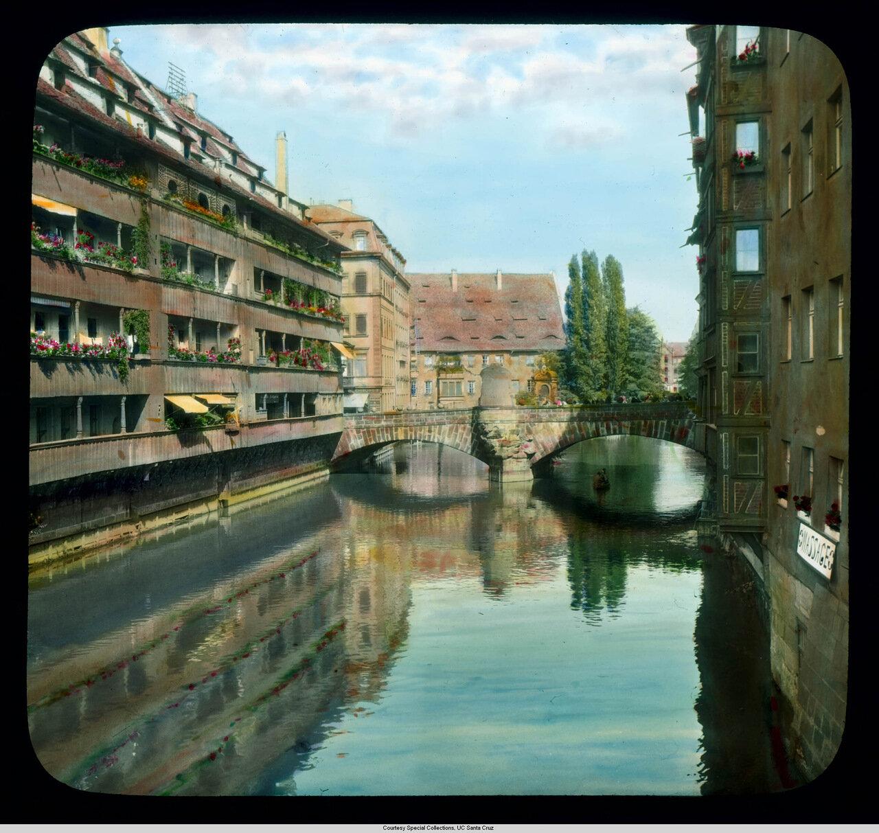 Нюрнберг. Река Пегниц и Музейный мост (1700; перестроен в 1954)