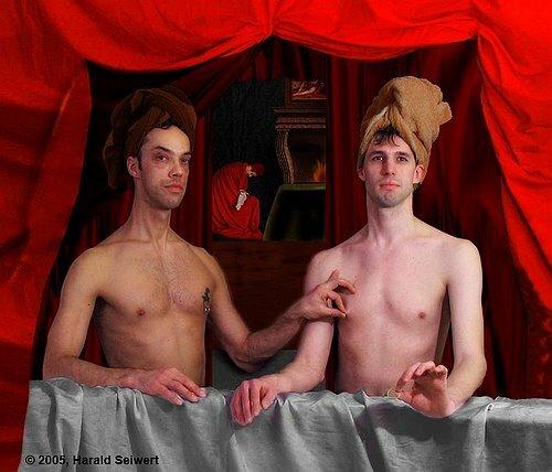 Картина - геи трогают соски