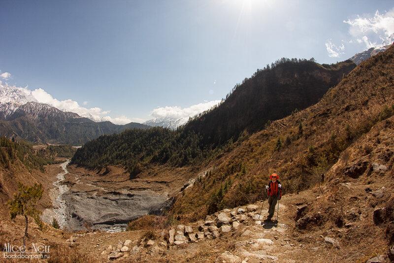 по дороге к водопаду в кобанге, гималаи, непал