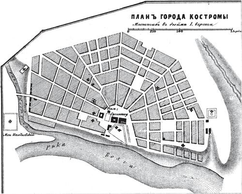 Генплан города Костромы на 1876 год