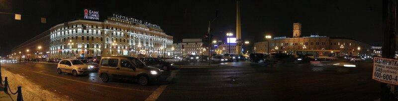Ночная панорама площади Восстания