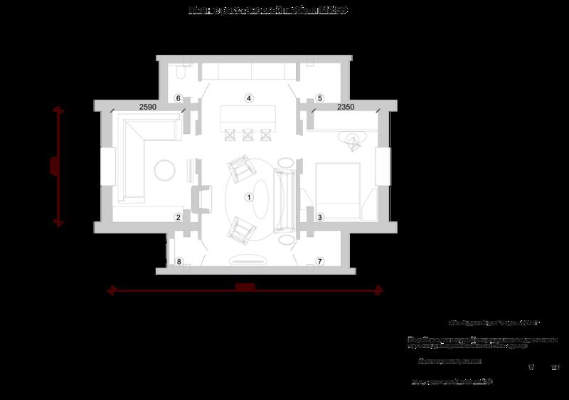 Mod 42-96, План жилого дома, 56 кв.м с расстановкой мебели. Главный зал первого этажа с расставленной мягкой мебелью, объединяющей вспомогательные помещения; кухню столовую, спальню, холл, прихожую, ванные комнаты.