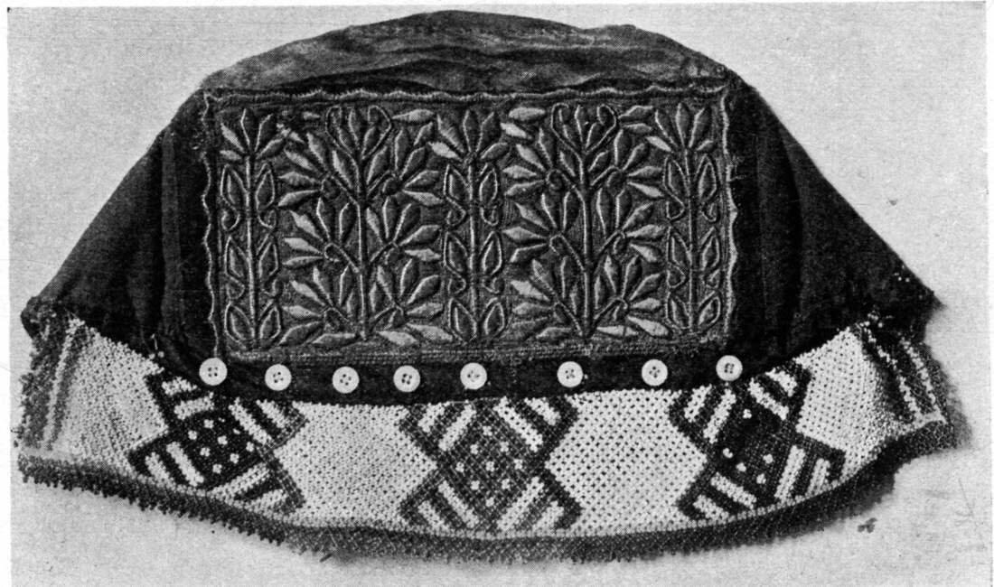 7. Часть сороки с бисером налобником, шитье – золотой ниткой