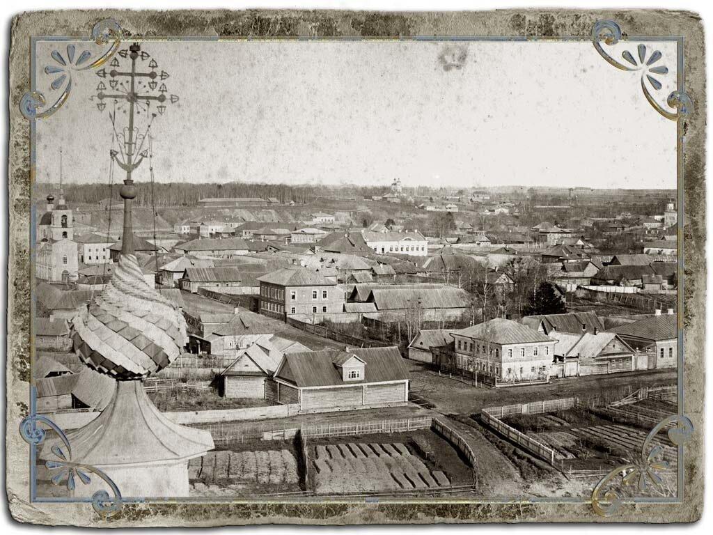 Вид с колокольни Крестознаменской церкви на восточную часть города, 1880 год.