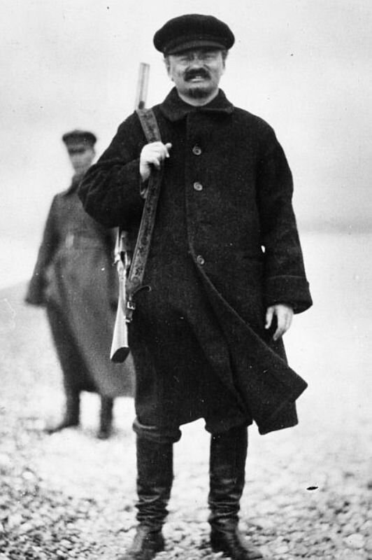 Leon Trotsky during a hunt in the Caucasus, 1924