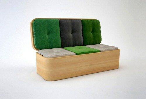 Диван со столиком и пуфами