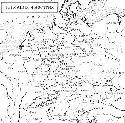 Карта средневековых Австрии и Германии