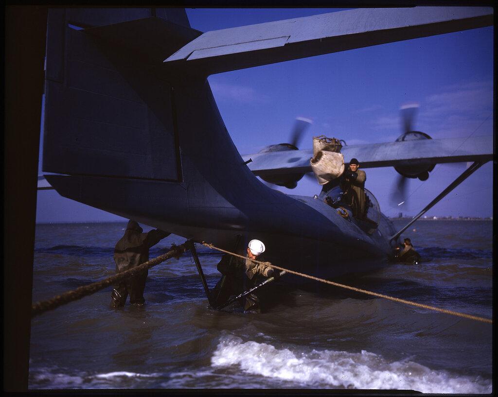 Consolidated PBY-5 Catalina of Patrol Squadron VP-51 aircraft #8 at anchor