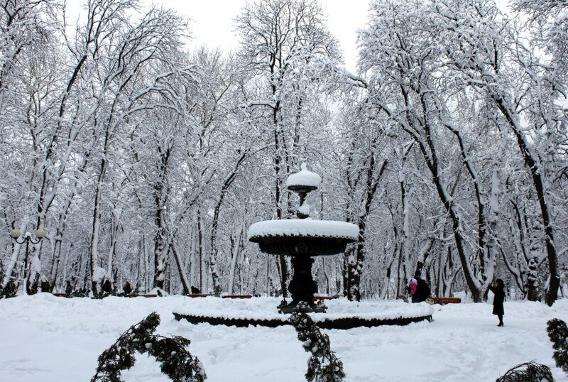 Фонтан под снегом