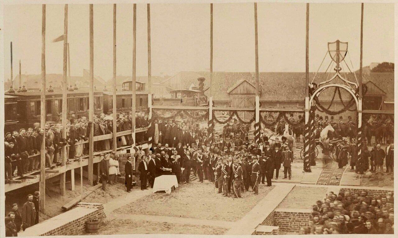 Закладка первого камня в фундамент станции в Варшаве,1866