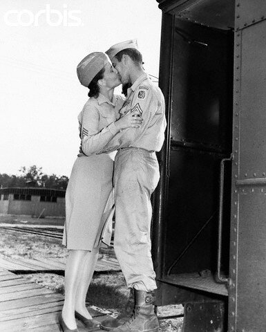 Military Couple Kissing Goodbye