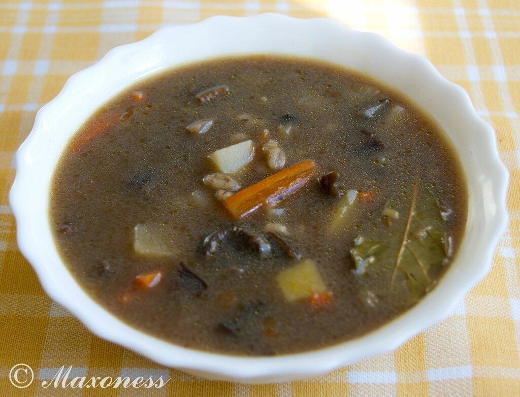 Грибной суп с перловой крупой. Белорусская кухня