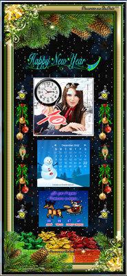 Приветствие для Новогоднего оформления с часами, календарем и информером обратного отсчета