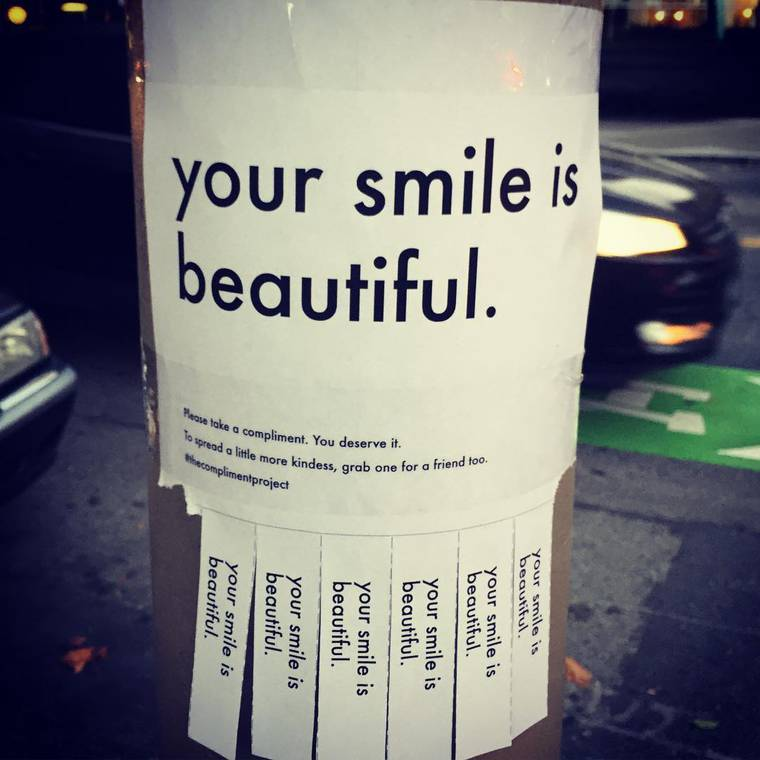 The Compliment Project - She installs free compliments to share