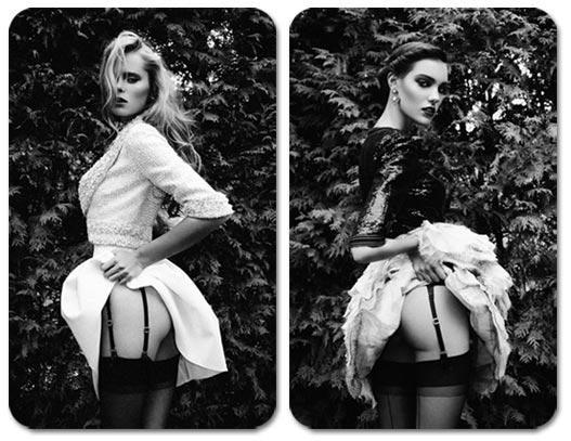Маша и Шарлотта в фотосессии -Скромное обаяние- в журнале Dress to Kill, зима 2012/2013, фотограф Richard Bernardin
