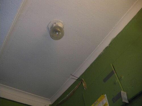 Фото 21. На фоне позднесталинских штукатурных галтелей-падуг современный светильник системы коммунального освещения НББ-60 выглядит совсем плохо.