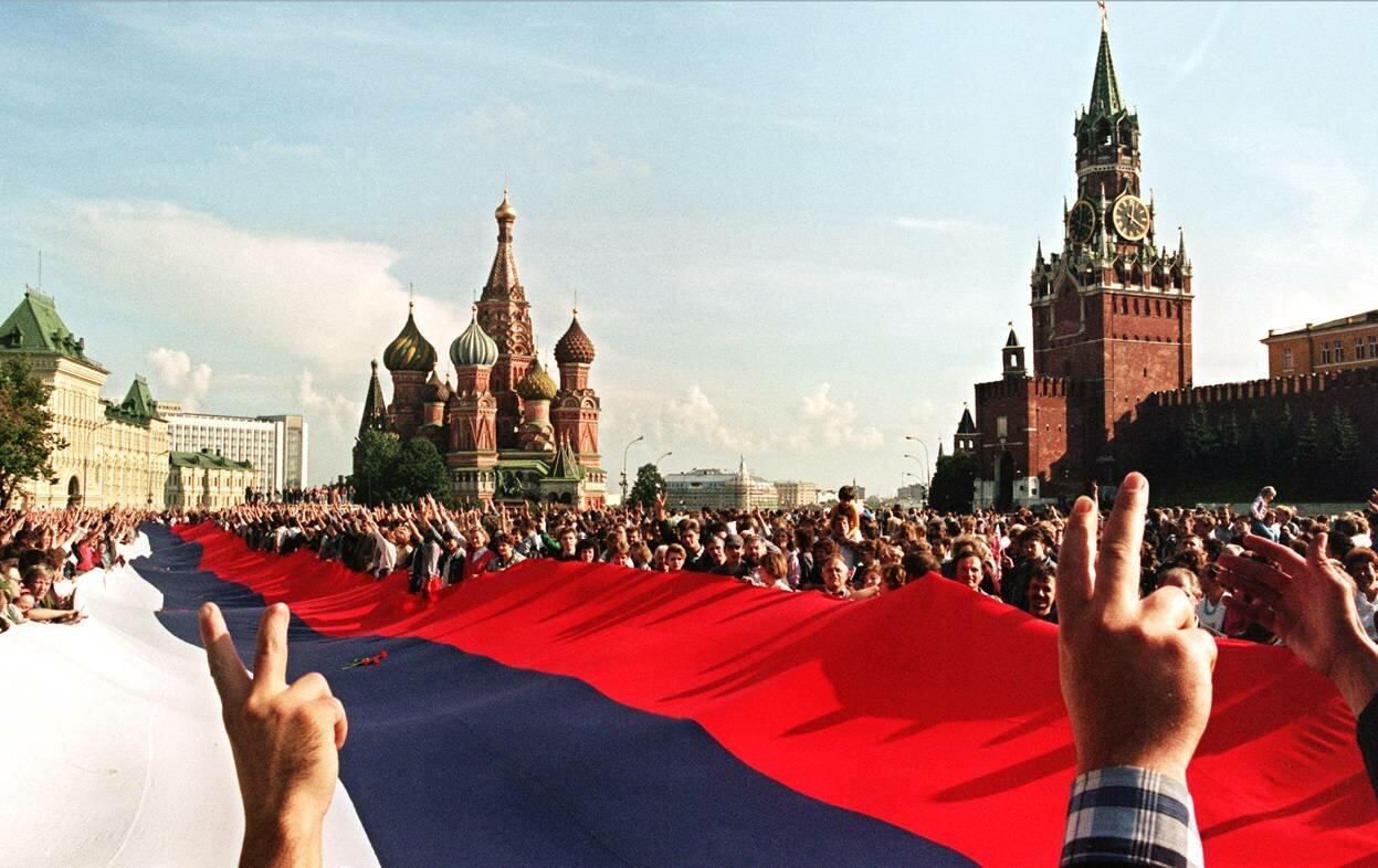 В августе 1991 года. Торжества в Москве после провала попытки государственного переворота