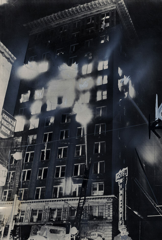 Firemen battle the disastrous inferno at the Winecoff Hotel in Atlanta, Georgia, in which more than 20 people were killed and many more injured
