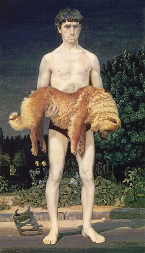 Человек с убитой собакой. 1976. Жилинский Дмитрий Дмитриевич (1927-)
