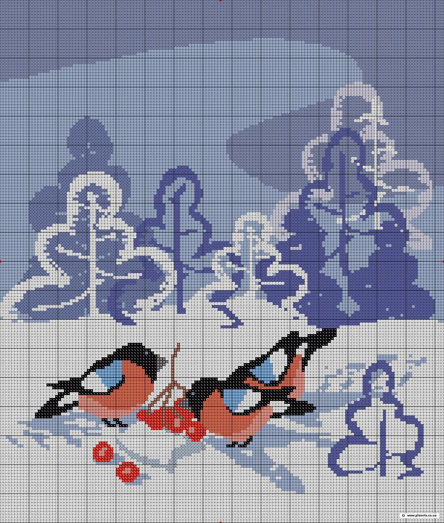 """Схема вышивки  """"Снегири """": таблица цветов."""