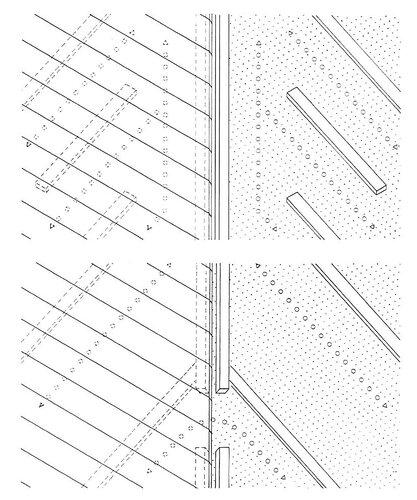Верхний воздушный канал у хребта; разрывы в контробрешетке и хребтовом бруске