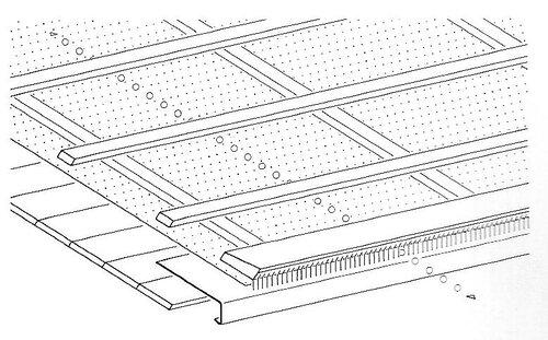 Верхний воздушный канал на карнизе; вентиляционная решетка / гребень
