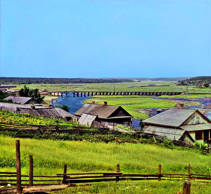 Прокудин-Горский. Мост через реку Березину