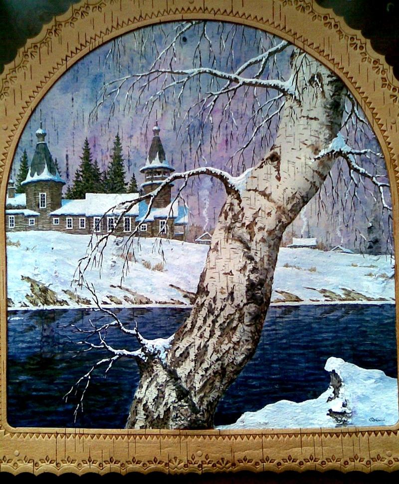 Пейзажи на бересте художника Сергея Зинина