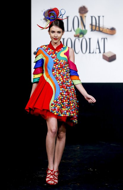 "A model dressed in an outfit made with chocolates presents a creation at the Brussels ""Le Salon du C"