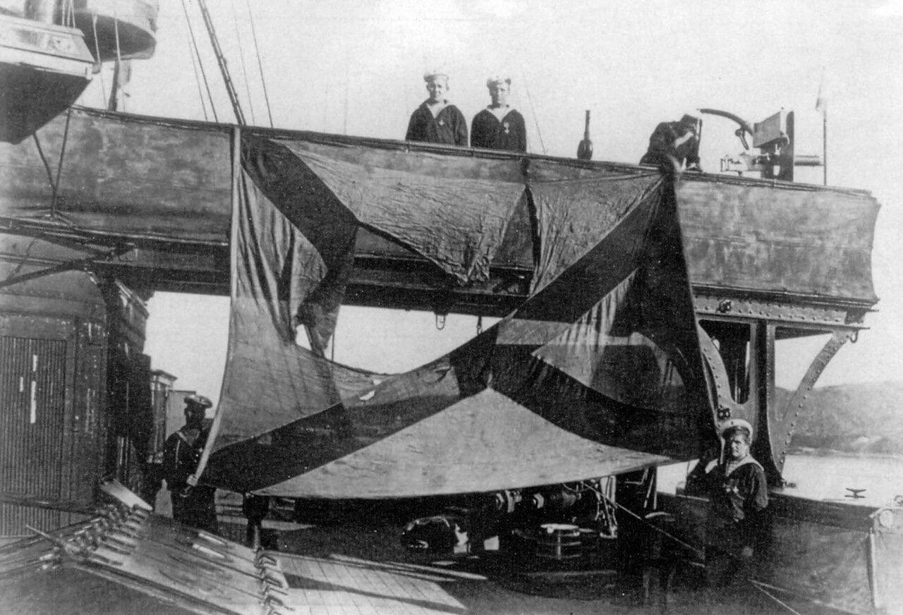 Броненосный крейсер Громобой после боя в Корейском проливе, август 1904 года.