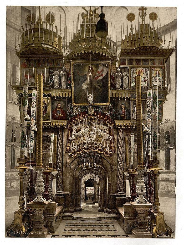 Гроб Господень. Раскрашенное фото, 1890-е годы