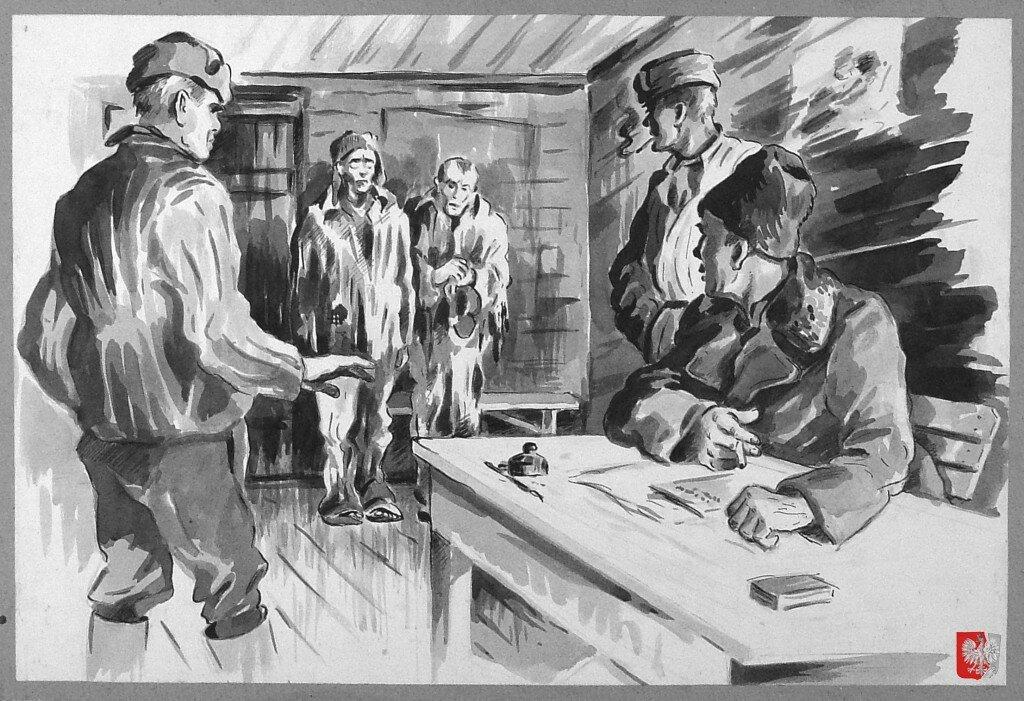 Непокорные заключенные на допросе в комендатуре трудового лагеря