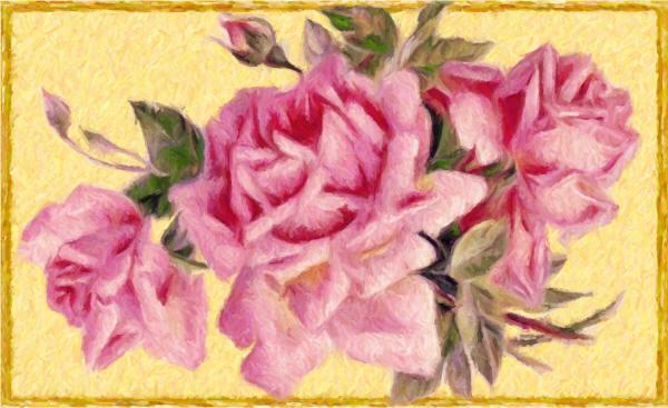 Намальовані рожеві троянди