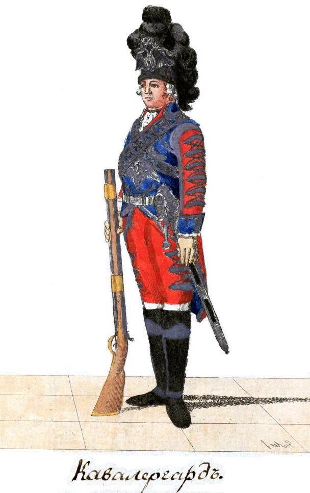 Гравюра «Кавалергад» из Изображение мундиров Российского Императорского войска, состоящее из 88 лиц иллюминованных. 1793