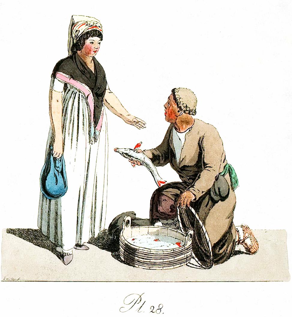 28. Fischhändlers und einer Dame / Торговец рыбой и дама