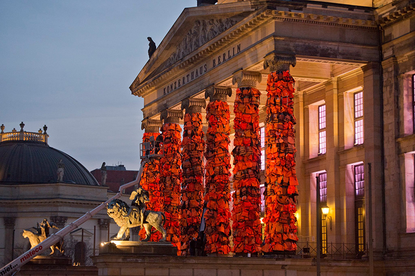 Image via Oliver Lang / Konzerthaus Berlin Ai Weiwei has produced a five-column installation on the