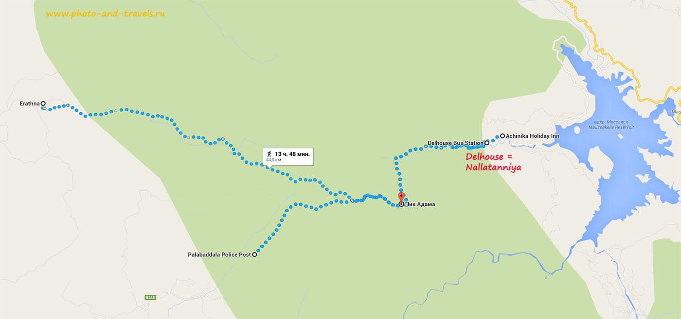 7-1. Карта со схемой тропинок, ведущих на вершину горы Пик Адама. Самая короткая, но и наиболее крутая и тяжелая - тропа из Dalhousie (Nallatanniya). Восхождение на Шри Пада из деревень Erathna и Palabaddala происходит по более пологому склону, но длится дольше. Карта с пояснением как доехать до Наллатанния, пробравшись через территорию национального парка Хортон Плейнс, смотрите в первой главе.